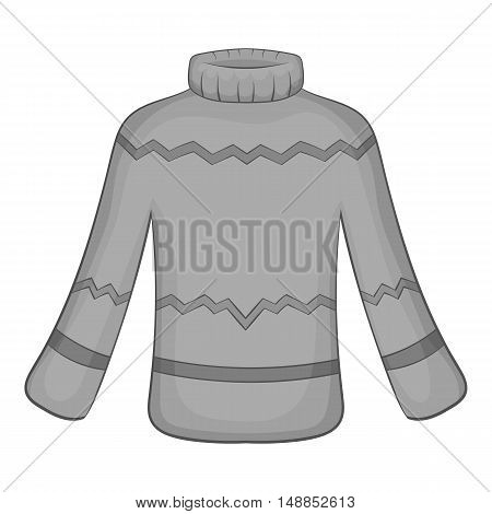 Mens sweater icon in black monochrome style isolated on white background. Clothing symbol vector illustration