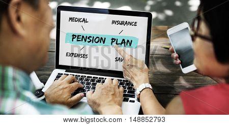 Pension Plan Investment Retirement Diagram Concept