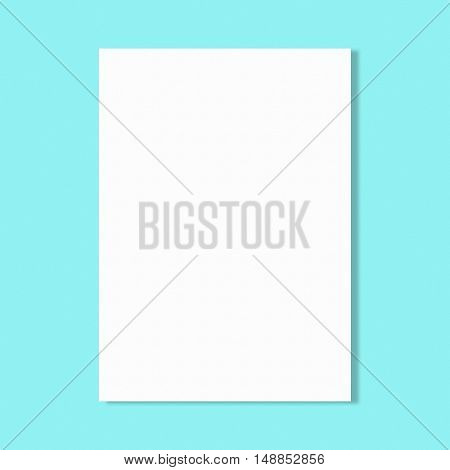 Abstract white paper sheet on blue wall background.