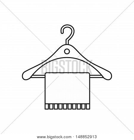 Hanger and towel icon in outline style isolated on white background. Bathroom symbol vector illustration