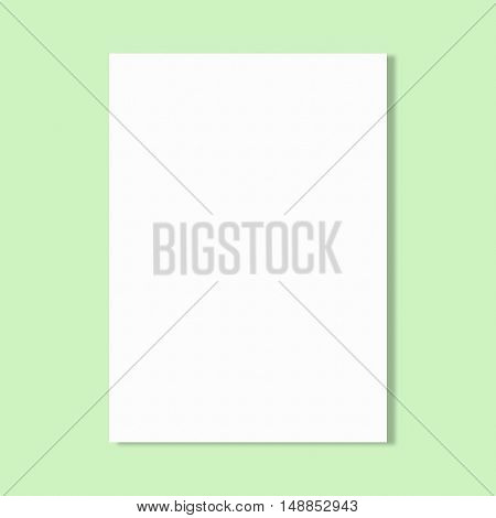 Abstract white paper sheet on green wall background.