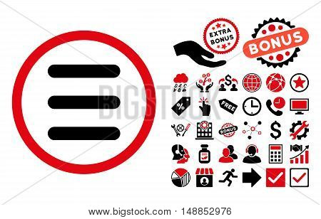 Menu pictograph with bonus pictograph collection. Vector illustration style is flat iconic bicolor symbols intensive red and black colors white background.