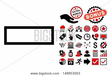 Minus icon with bonus pictures. Vector illustration style is flat iconic bicolor symbols intensive red and black colors white background.