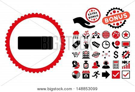 Minus pictograph with bonus clip art. Vector illustration style is flat iconic bicolor symbols intensive red and black colors white background.