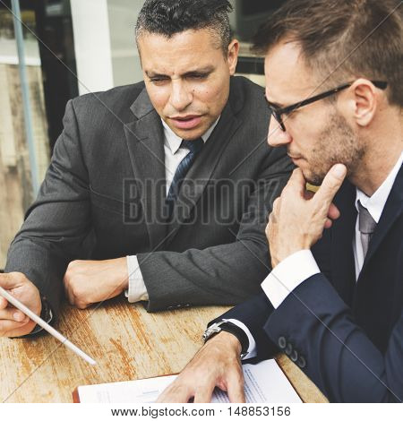 Businessmen Meeting Discussion Analysing Planning Concept