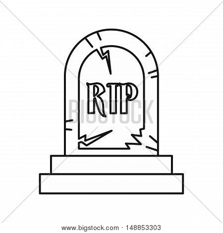 Grave RIP icon in outline style isolated on white background. Death symbol vector illustration