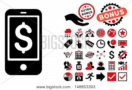 Mobile Balance pictograph with bonus symbols. Vector illustration style is flat iconic bicolor symbols intensive red and black colors white background.