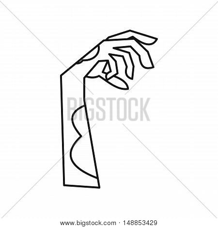 Zombie hand icon in outline style isolated on white background. Dead symbol vector illustration