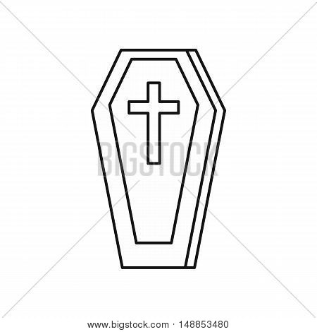 Coffin icon in outline style isolated on white background. Death symbol vector illustration