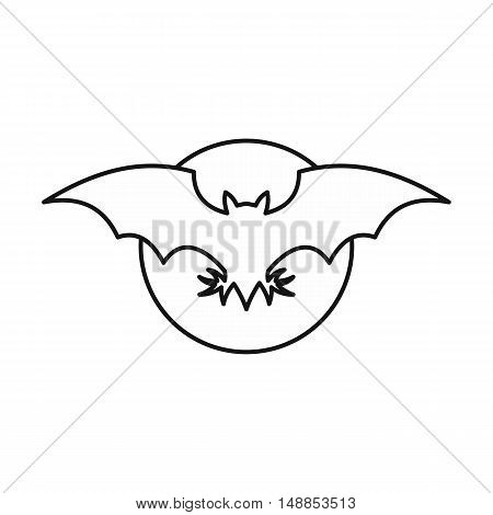 Bat icon in outline style isolated on white background. Fly symbol vector illustration