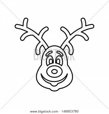 Christmas deer icon in outline style isolated on white background. Animal symbol vector illustration