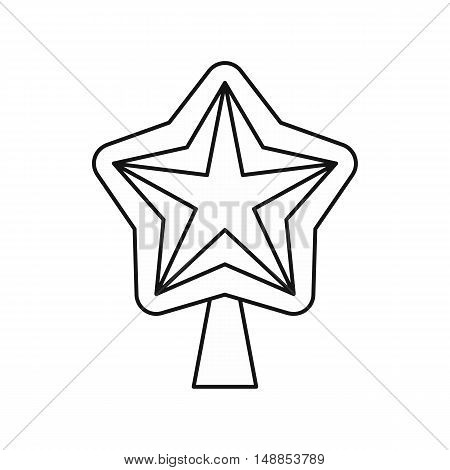 Star for Christmas tree icon in outline style isolated on white background. Decoration symbol vector illustration