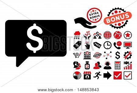 Money Message pictograph with bonus icon set. Vector illustration style is flat iconic bicolor symbols intensive red and black colors white background.