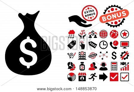 Money Sack icon with bonus icon set. Vector illustration style is flat iconic bicolor symbols intensive red and black colors white background.
