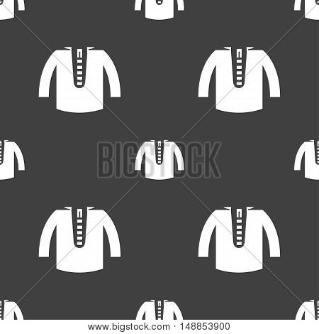 Casual Jacket Icon Sign. Seamless Pattern On A Gray Background. Vector