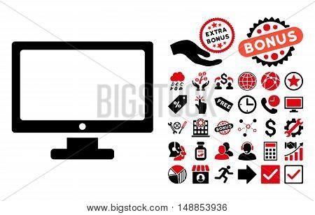 Monitor pictograph with bonus images. Vector illustration style is flat iconic bicolor symbols intensive red and black colors white background.