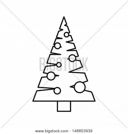 Christmas tree with toys icon in outline style isolated on white background. New year symbol vector illustration