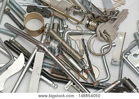 Various metal objects in a pile