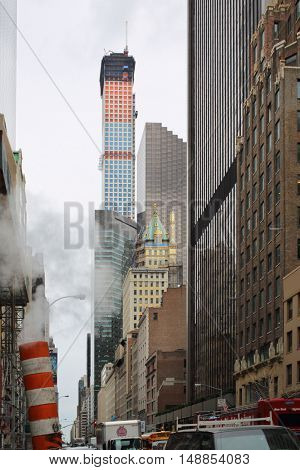 NEW YORK, USA - SEP 08, 2014: The tallest residential building on Park Avenue in New York City, view from the bottom point