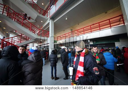 MOSCOW - NOV 30, 2014: Fans on the stadium Lokomotiv on the Russian Premier League