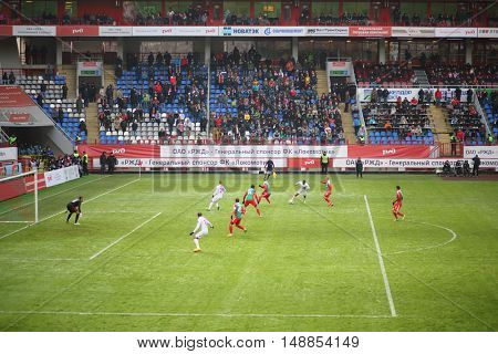 MOSCOW - NOV 30, 2014: Players on the stadium Lokomotiv on the Russian Premier League