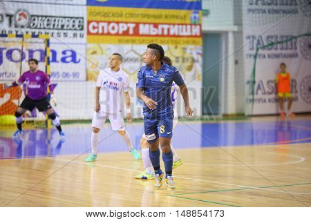 MYTISHCHI, RUSSIA - OCT 16, 2014: Players on the field on the Russian Futsal Super League in the Sports Complex Construction in Mytishchi