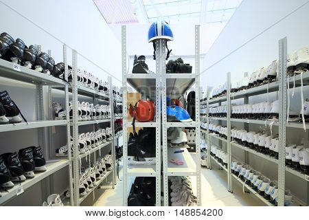 MOSCOW - DEC 05, 2014: Room rental skates in the shopping and entertainment complex Aviapark