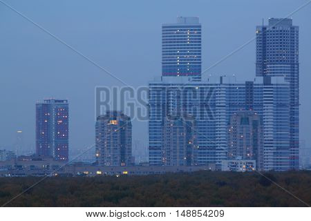 MOSCOW - OCT 09, 2014: View of skyscrapers residential complex Tricolor in the evening time in Moscow