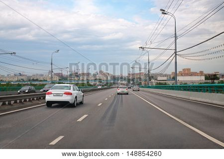 MOSCOW, RUSSIA - MAY 17: Third Ring Road. In 2014 in Moscow, number of registered vehicles is approximately 5.5 million.
