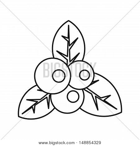 Currant and leaves icon in outline style isolated on white background. Berry symbol vector illustration