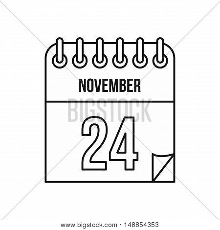 Calendar november twenty fourth icon in outline style isolated on white background. Date symbol vector illustration