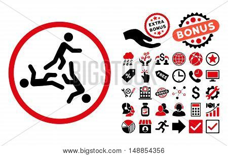 Moving Men pictograph with bonus icon set. Vector illustration style is flat iconic bicolor symbols intensive red and black colors white background.