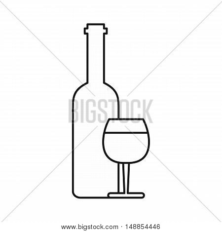 Wine and glass icon in outline style isolated on white background. Drink symbol vector illustration