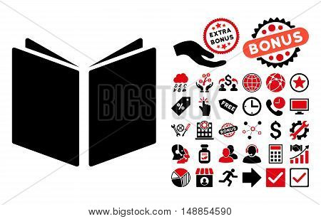 Open Book pictograph with bonus pictures. Vector illustration style is flat iconic bicolor symbols intensive red and black colors white background.