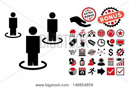 People pictograph with bonus pictograph collection. Vector illustration style is flat iconic bicolor symbols intensive red and black colors white background.