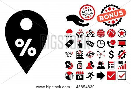 Percent Map Marker icon with bonus elements. Vector illustration style is flat iconic bicolor symbols intensive red and black colors white background.