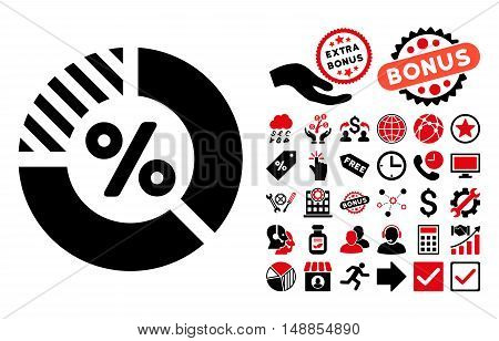 Percent pictograph with bonus pictograph collection. Vector illustration style is flat iconic bicolor symbols intensive red and black colors white background.