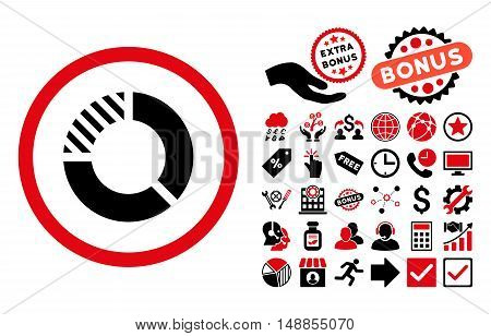 Pie Chart icon with bonus icon set. Vector illustration style is flat iconic bicolor symbols intensive red and black colors white background.