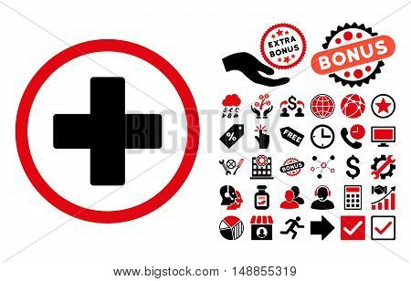 Plus pictograph with bonus pictograph collection. Vector illustration style is flat iconic bicolor symbols intensive red and black colors white background.