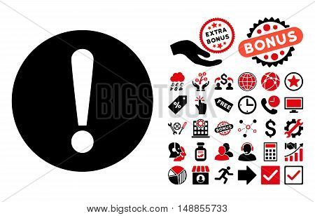 Problem icon with bonus images. Vector illustration style is flat iconic bicolor symbols intensive red and black colors white background.