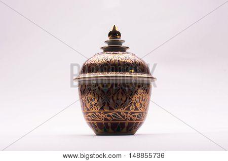 Benjarong is porcelain five color, bowl five color, Thai art decoration
