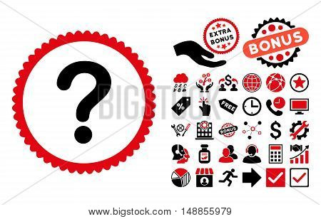 Question pictograph with bonus pictures. Vector illustration style is flat iconic bicolor symbols intensive red and black colors white background.