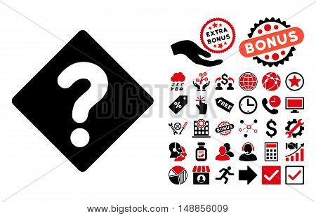 Question icon with bonus pictograph collection. Vector illustration style is flat iconic bicolor symbols intensive red and black colors white background.