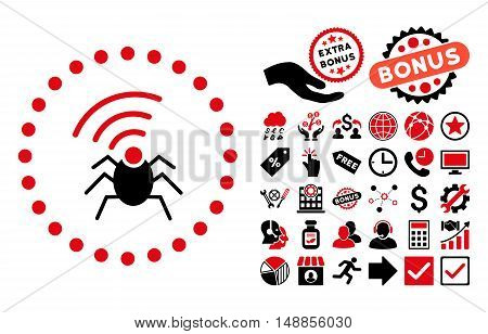 Radio Spy Bug icon with bonus pictograph collection. Vector illustration style is flat iconic bicolor symbols intensive red and black colors white background.