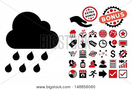 Rain Cloud pictograph with bonus pictogram. Vector illustration style is flat iconic bicolor symbols intensive red and black colors white background.