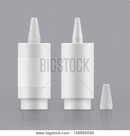 Vector nasal spray. White plastic container for liquid. Open and closed white plastic bottles. Container with medical drug for nose. Blank packing - realistic vector isolated illustration