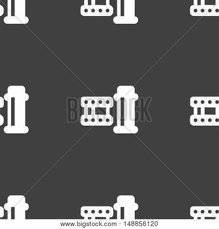 Film Icon Sign. Seamless Pattern On A Gray Background. Vector