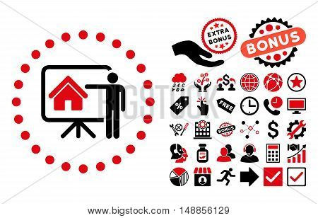 Realtor Presentation icon with bonus symbols. Vector illustration style is flat iconic bicolor symbols intensive red and black colors white background.