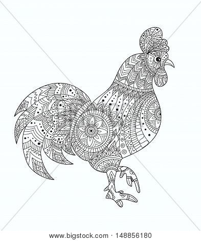 Rooster on white background. Rooster animals. Rooster vector. Rooster color. New Year with chinese symbol of rooster. The Year of Rooster