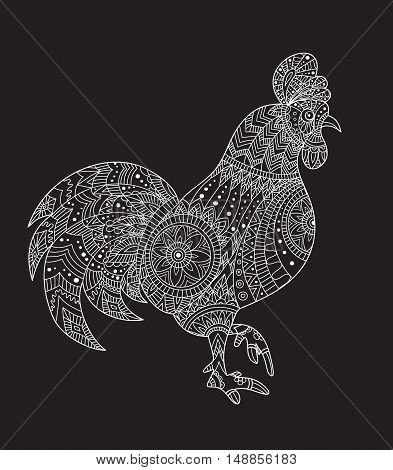 Rooster on black background. Rooster animals. Rooster vector. Rooster color. New Year with chinese symbol of rooster. The Year of Rooster. Rooster year Chinese zodiac symbol with paper cut art. Icon